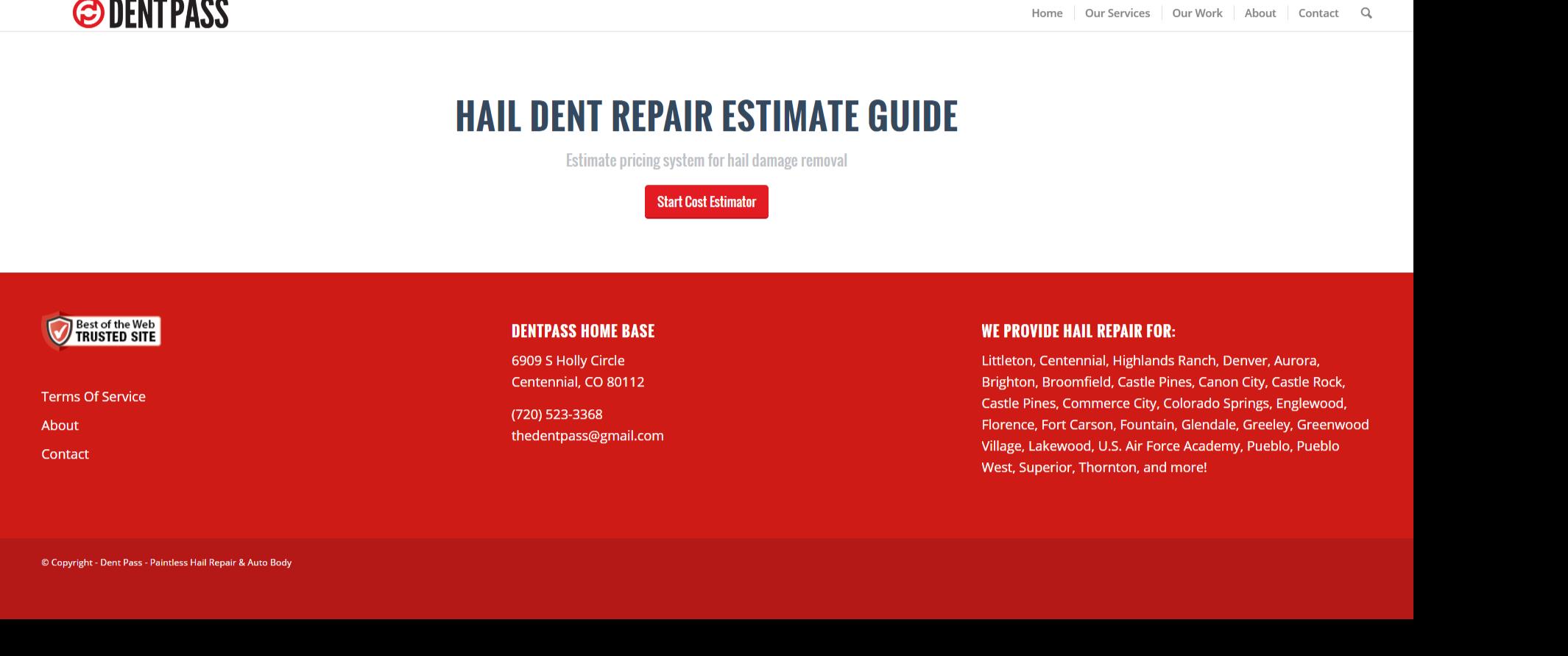 hail damage repair cost per dent